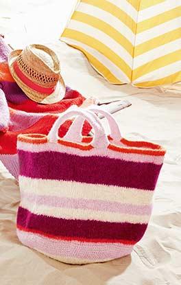 Streifen-Strandtasche