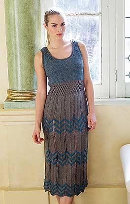 Kleid mit Zacken- und Gitterlochmuster