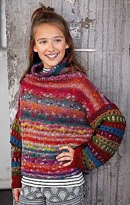 Pullover in glatt rechts mit Hebemuster