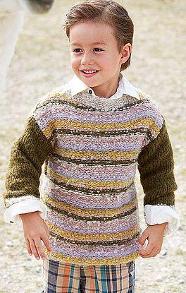 Pullover mit Streifen und Materialmix
