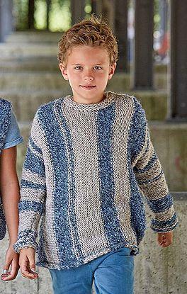 Pullover in glatt rechts mit Blockstreifen