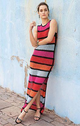 gestreiftes Maxi-Kleid