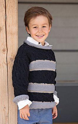 Pullover im Schachbrettmuster mit Streifen