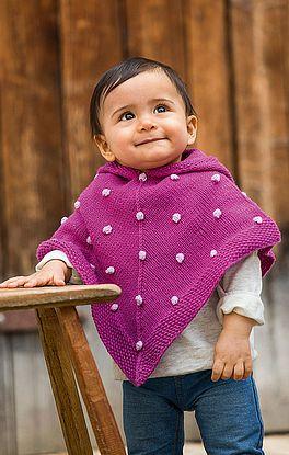 Baby-Poncho im Perlmuster mit Noppen