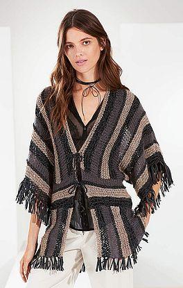 Jacke mit Streifen- und Musterfolge